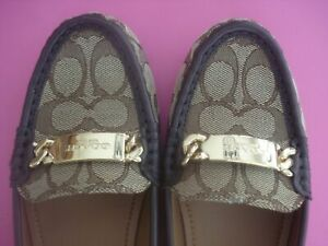AUTHENTIC COACH LOAFERS SHOES ICONIC C LOGO BROWN 8 NEW