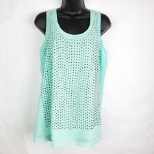 Rebellious.One Womens Shirt M Blue Green Sleeveless Tank Layered Studded