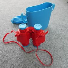 Vintage Childrens Binoculars toy red plastic non prismatic Italy.