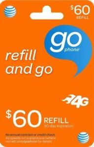 AT&T - AT&T Prepaid $60 Refill Top-Up Prepaid Card , AIR TIME  PIN / RECHARGE