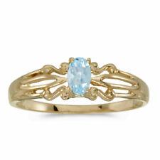 10k Yellow Gold Oval Aquamarine Ring