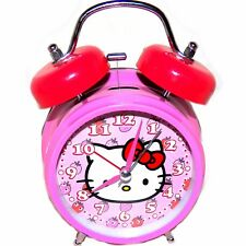 Sanrio Hello Kitty Pink Strawberries Face Twin Bell Alarm Clock 4 inch Diameter