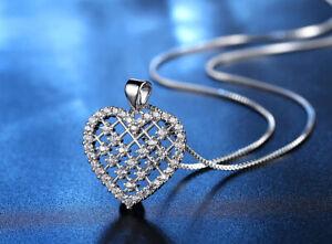 Heart Love Pendant Swarovski Silver Chain Necklace Women Jewellery Gift UK