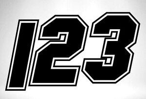 3 x Race Numbers Vinyl Stickers Decals Dirt Bike Motocross Trials Kart - S10