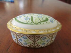 Lovely Royal Crown Derby Lidded Box Forget Me Not Really Lovely
