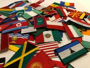 Country Flags Patches Iron or Sew on Embroidery Patches Italy Japan France Spain