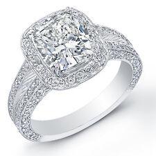 4.20 Ct. Cushion Cut Diamond Halo Micro Pave Platinum Engagement Ring H,VS2 EGL