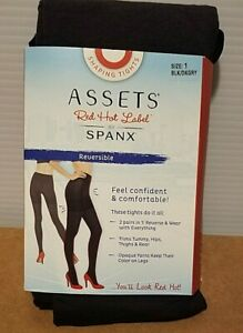 NWT ASSETS SPANX Reversible Shaping Tights SIZE 1 Blackm Dark Grey Soft NEW