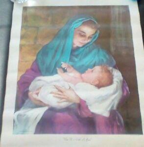 Vintage Art Print Unto Us A Child Is Born Harry Anderson 1956 Baby Jesus Rare