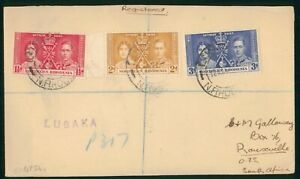 Mayfairstamps Northern Rhodesia 1937 Lusaka Coronation Set to South Africa First