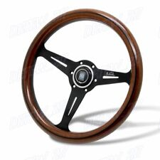 N Style CLASSIC 350MM STEERING WHEEL MAHOGANY WOOD WITH BLACK SPOKE Nardi New