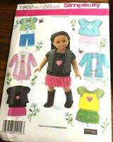 Simplicity 1902 18″ Doll Clothes 1 Size Elaine Heigl Design Uncut Sewing Pattern