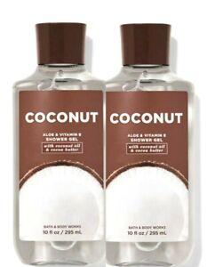2 BATH & BODY WORKS SHOWER GEL BODY WASH ALOE & VITAMIN E COCONUT 10 OZ NEW
