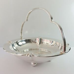 Vintage Stokes & Sons Silverplate Fruit Food Serving Basket Footed Dish, Handle