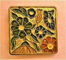 square brooch dress scarf clip lapel pin B642*) Gold tone enamel flower Art Deco