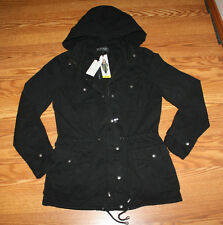 NWT Womens David Britton BUFFALO Vintage Dyed Anorak Hooded Jacket Black L
