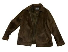 Nautica Mens Solid Brown Faux Suede Car Coat Jacket With Brown Faux Fur Lining L
