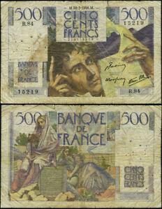 Pick #129a 500 Francs 1946 France Pinhole/Split VG