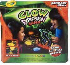 Crayola Glow Explosion Sand Art Brush Blue Red Green Yellow Glue Dark Project