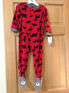 New Carter's 1pc Woodland Animals Fleece Pajama Footie Sleeper Toddler Boy Red