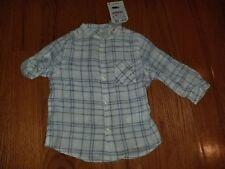 Zara Baby Boys Long Sleeves Shirt Size 18-24 Months White Blue plaid