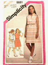Vintage 1980s Simplicity Sewing Pattern 9881 - Size 10 Girls Retro Dress