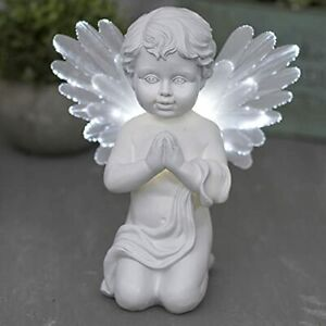 GloBrite Garden Solar Angel Light with Fibre Optic Wings - Memorial Cherub