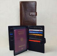 Herren Leder Brieftasche Geldbörse groß mit Passfach  RFID Schutz Schwarz Braun