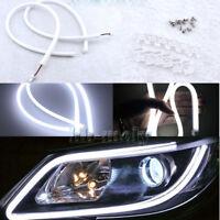 2Pcs Thin Practical Headlight Eyebrow Light Auto LED Strip DRL 40cm 6000K White