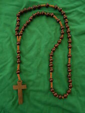 Rosenkranz Halskette Kette aus Holzperlen dunkelbraun Holzkreuz Top Preis  Neu