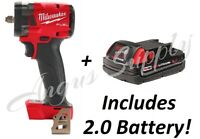 """Milwaukee 2854-20 M18 3/8"""" Drive Stubby Impact Wrench Bare Tool With 2.0 Battery"""