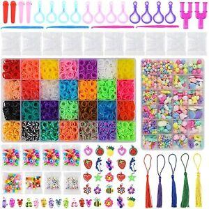 10,000pcs Kit Box+Rainbow Colourful Rubber Loom Bands DIY Bracelet Making Set UK