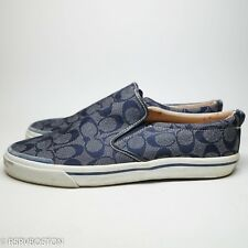 e30f0ca66ac2 Coach Slip On Logo Sneakers Martin Blue White Leather Canvas 12 D Vintage