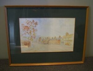 Framed Original Watercolour of a Road with Shop Fronts & Houses By N.Gibson -Art