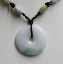 Certified Natural (A) Untreated Light Lavender Green Jadeite JADE Circle Pendant