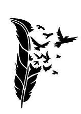 Alto detalle Pájaro y pluma aerógrafo de plantilla libre UK FRANQUEO