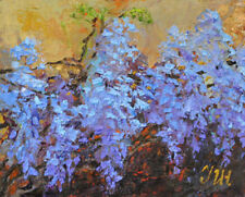 """Wisteria. Original framed  oil on canvas 8""""x10""""  painting"""