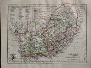 1900 VICTORIAN MAP ~ CAPE COLONY TRANSVAAL ORANGE RIVER COLONY CAPE TOWN ZULU