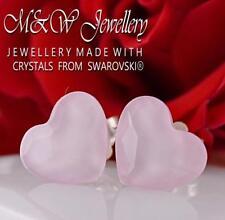 925 Silver Stud Earrings HEART Powder Rose 10mm Crystals From Swarovski®