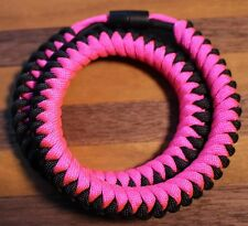 550 Paracord Snake Weave Survival Necklace Pink/Black (21 inches)