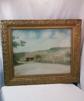 Vtg Photograph LG farm house barn Red Painted over picture 30's 40's frame Art