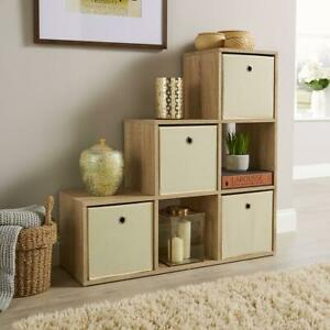 Step Style Storage Cube 6 Shelf Bookcase Wooden Display Staircase Sonoma Oak