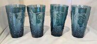Vintage Indiana Glass Blue Grape Harvest Set Of 4 Drinking Glasses
