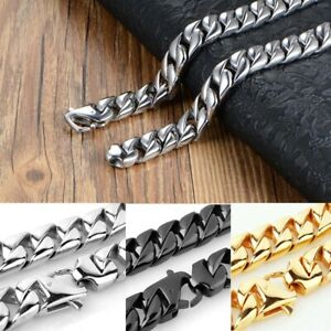 Stainless Steel Hip Hop Necklace Miami Cuban Curb Link Chains Mens Punk Jewelry