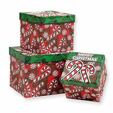 3 Piece Christmas Nesting Gift Boxes; Candy Cane Design!