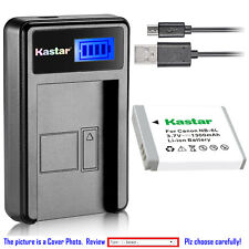 Kastar Battery LCD USB Charger for Canon NB-6L NB-6LH & Canon PowerShot SX600 HS