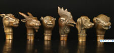 6 PCS Horse Goat Monkey Rooster Dog Pig Statue Cane Head Walking Sticks