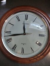 Seiko Quartz 12 Inch round Wall Clock wood qxa101bc