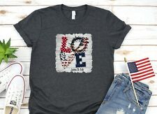 Womens T-Shirt John 3:16 Love Jesus Patriotic 4th Of July Polka Dots
