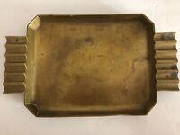 """Art Deco Brass Ash Tray Serving  Platter 9x7"""" Heavy Weight  1930's Era Design"""